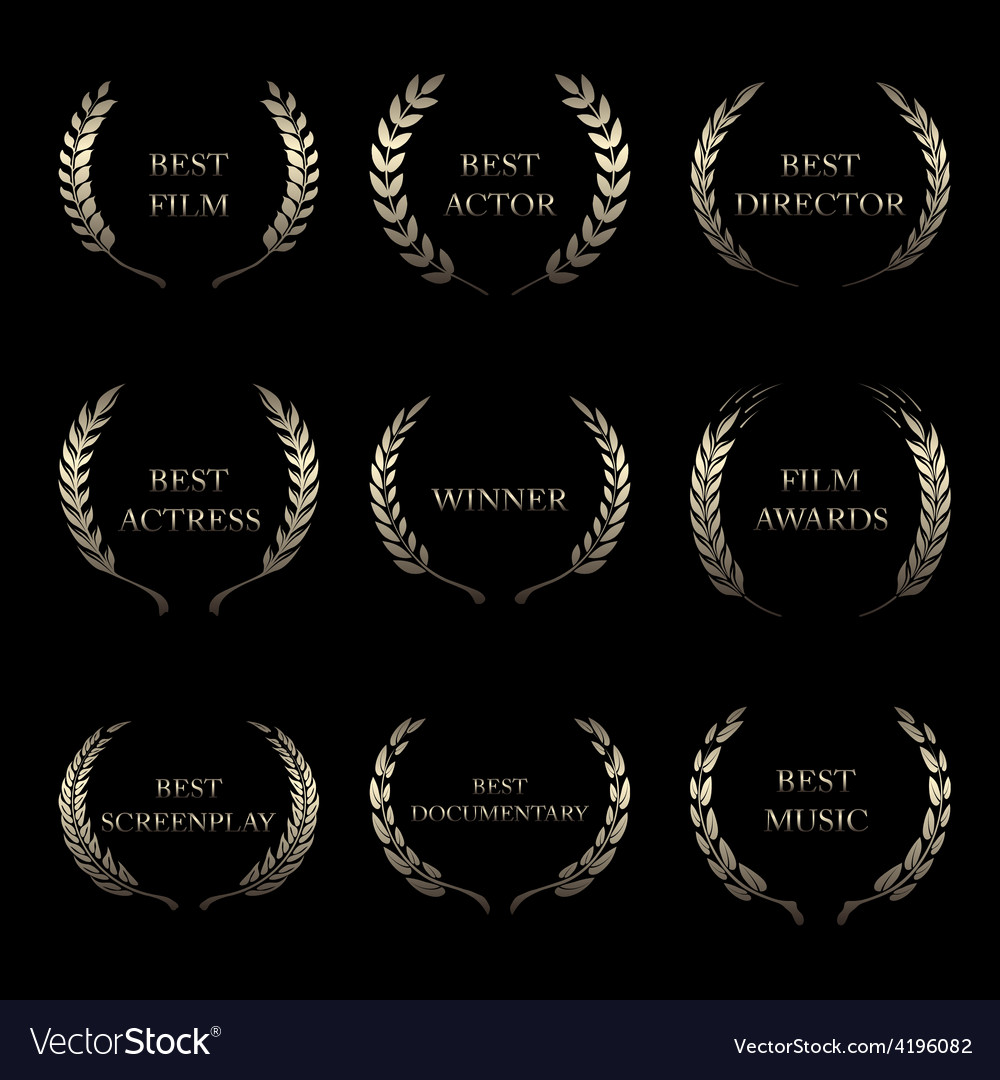 Film awards award wreaths on black background vector | Price: 1 Credit (USD $1)