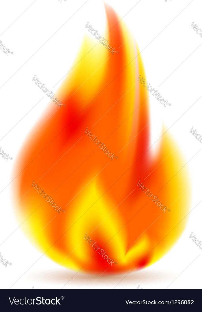 Fire bright flame on white background vector | Price: 1 Credit (USD $1)