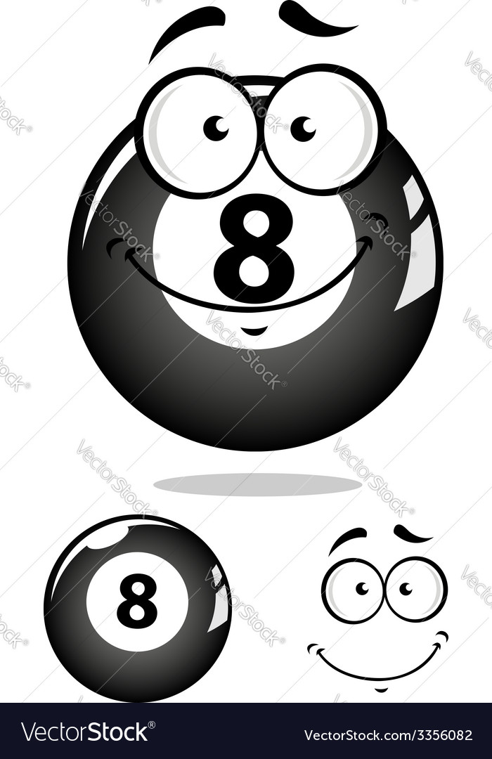 Gray eight pool ball character vector | Price: 1 Credit (USD $1)