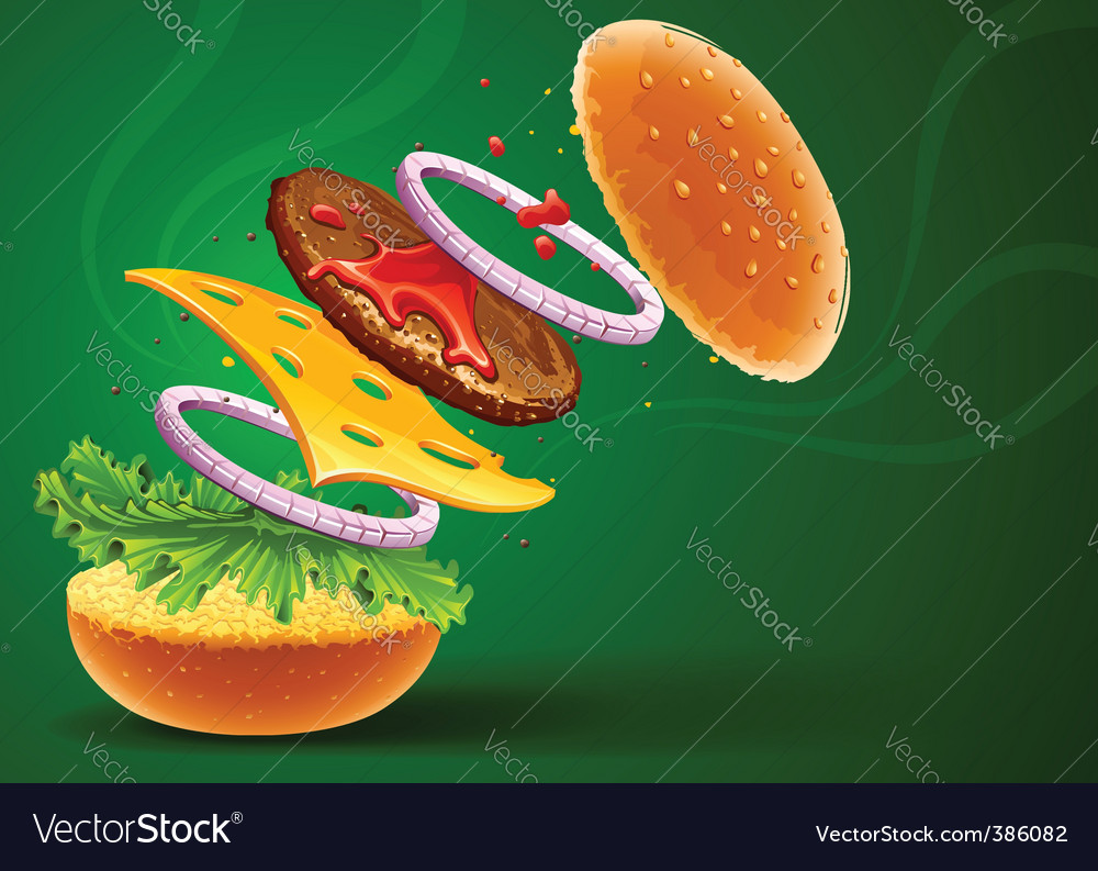 Hamburger with cheese vector | Price: 3 Credit (USD $3)