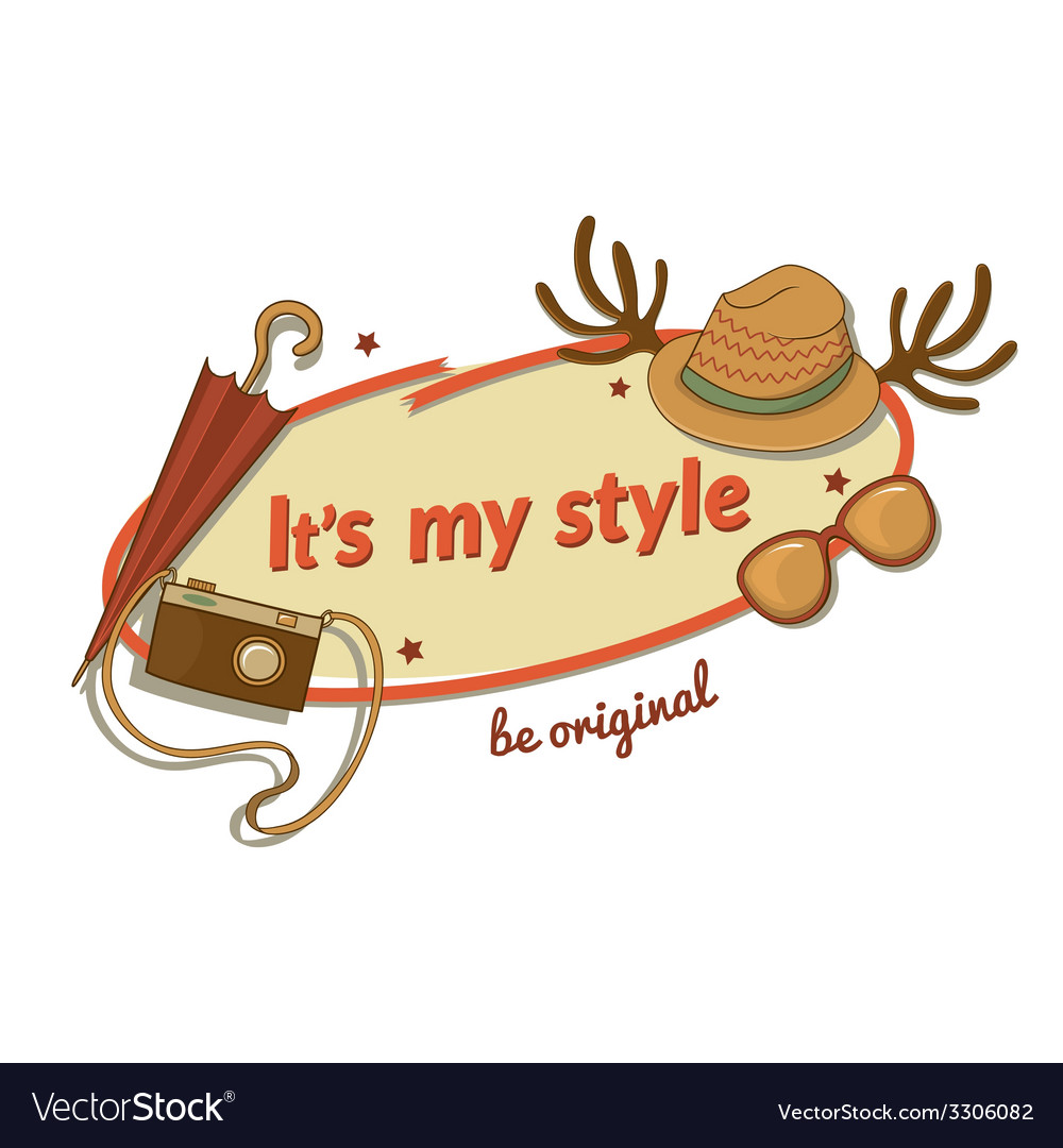 Hipster woman stylish label with contemporary vector   Price: 1 Credit (USD $1)