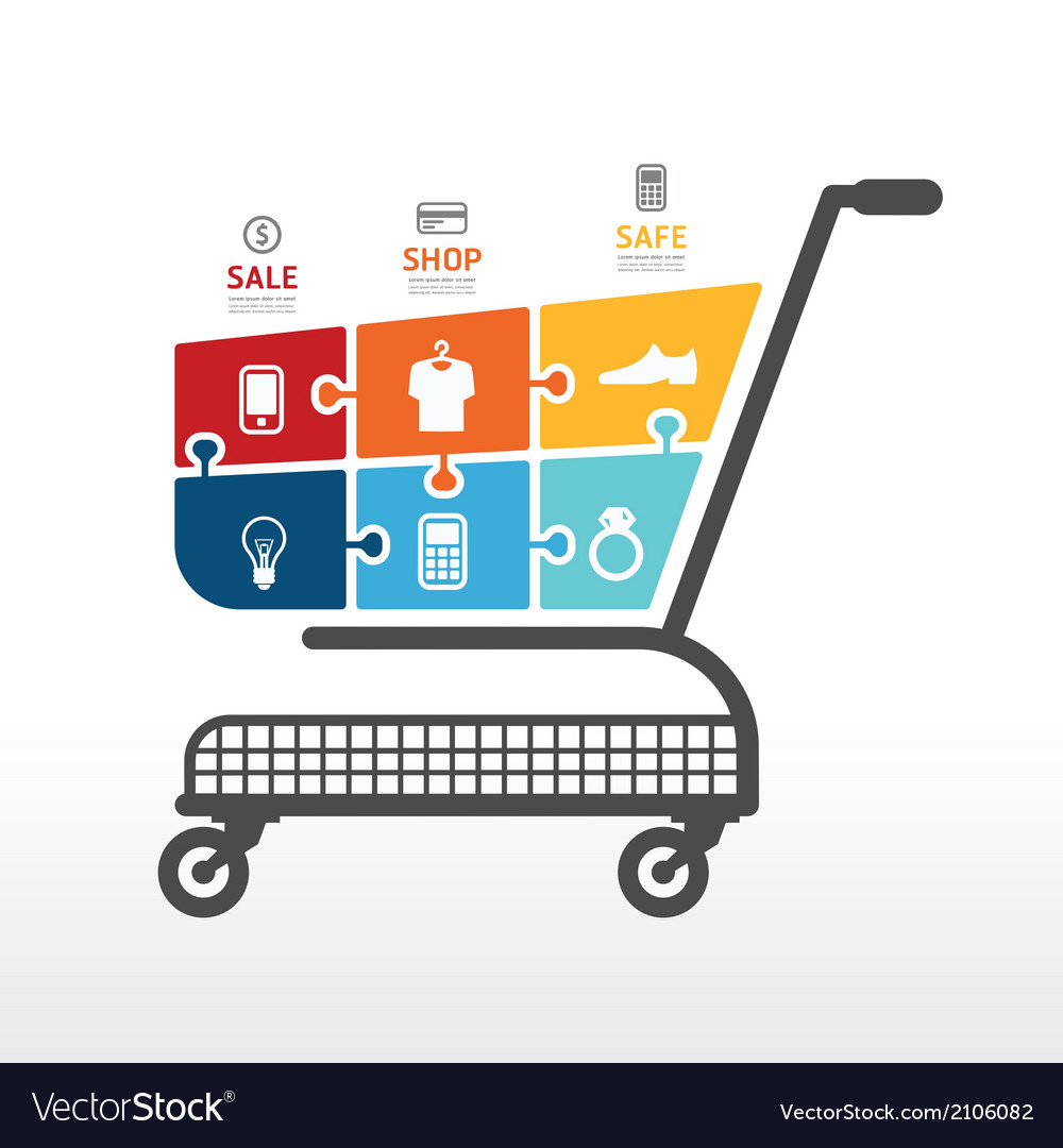 Infographic template with shopping cart vector | Price: 1 Credit (USD $1)
