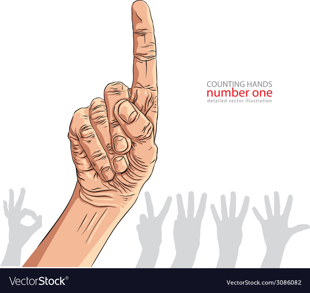Numbers hand signs set number one detailed vector | Price: 1 Credit (USD $1)