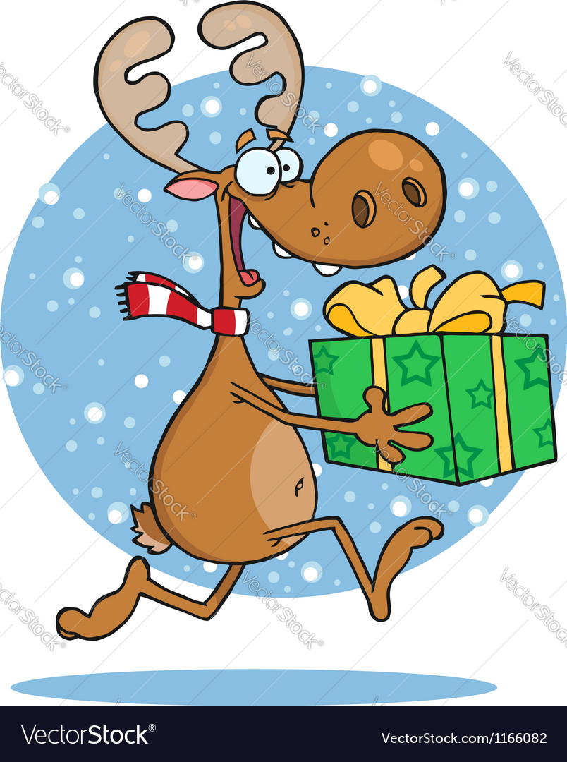 Reindeer runs with bag in snow vector | Price: 1 Credit (USD $1)