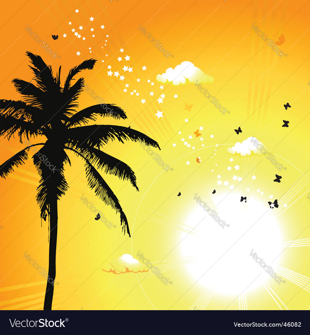 Tropical sunset palm trees vector | Price: 1 Credit (USD $1)