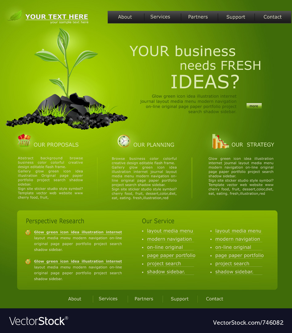 Web site for business green with green sprout vector | Price: 3 Credit (USD $3)