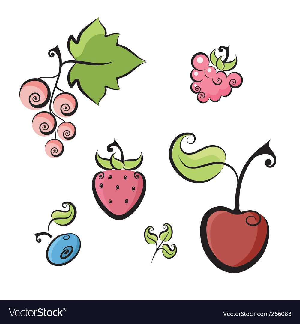 Berries collection vector | Price: 1 Credit (USD $1)