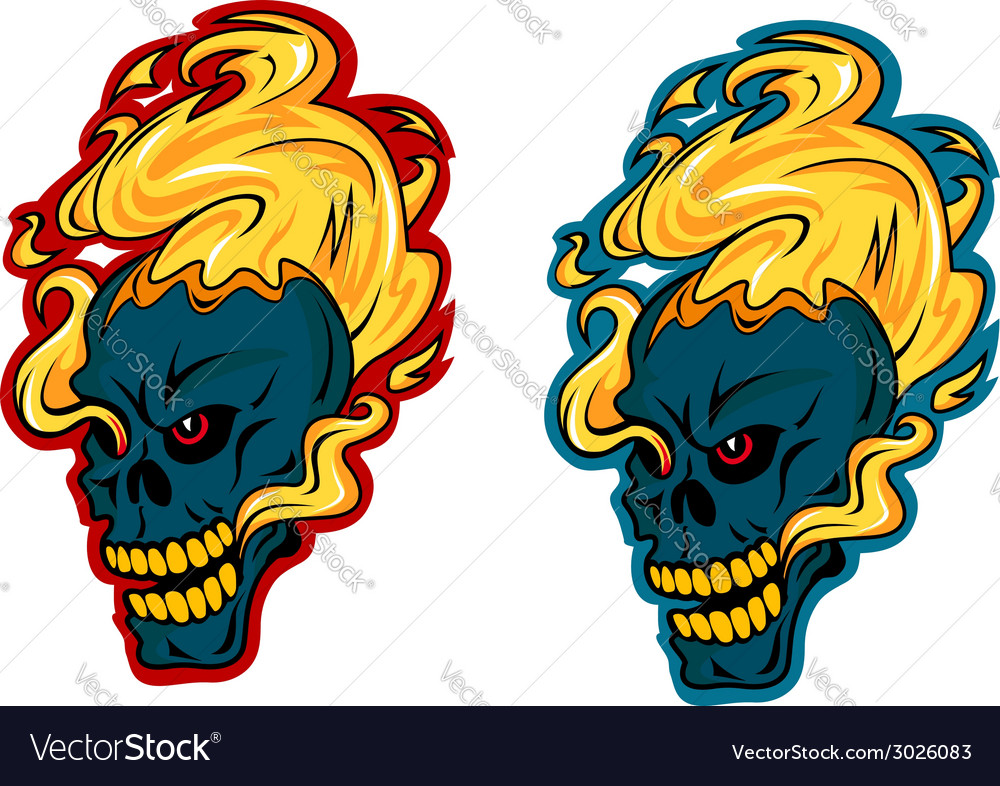Blazing skulls characters vector | Price: 1 Credit (USD $1)