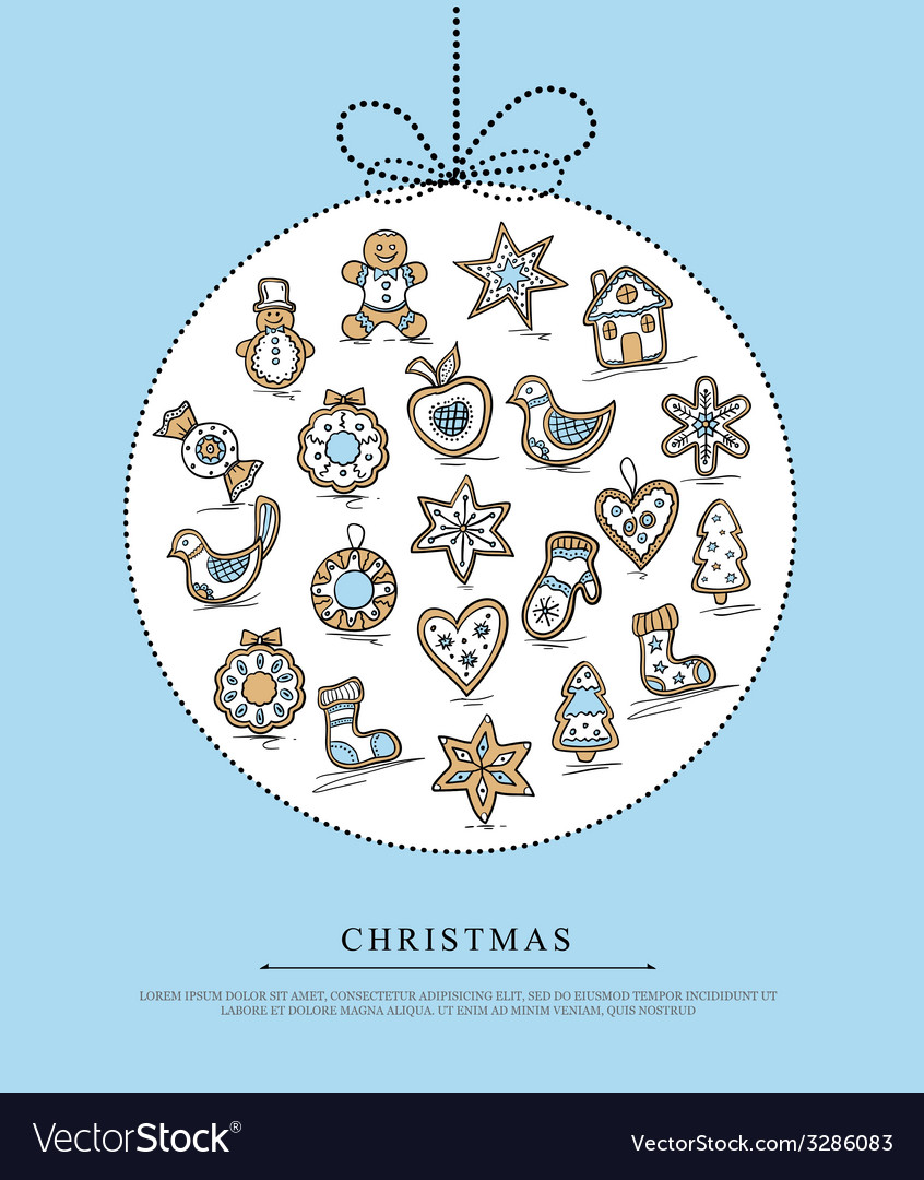 Blue greeting card with christmas gingerbreads vector | Price: 1 Credit (USD $1)