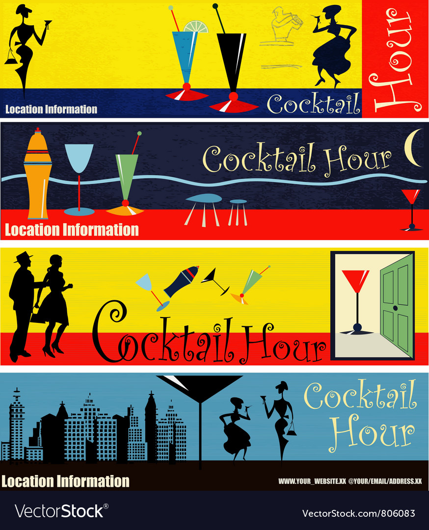 Cocktail hour web banners vector | Price: 1 Credit (USD $1)