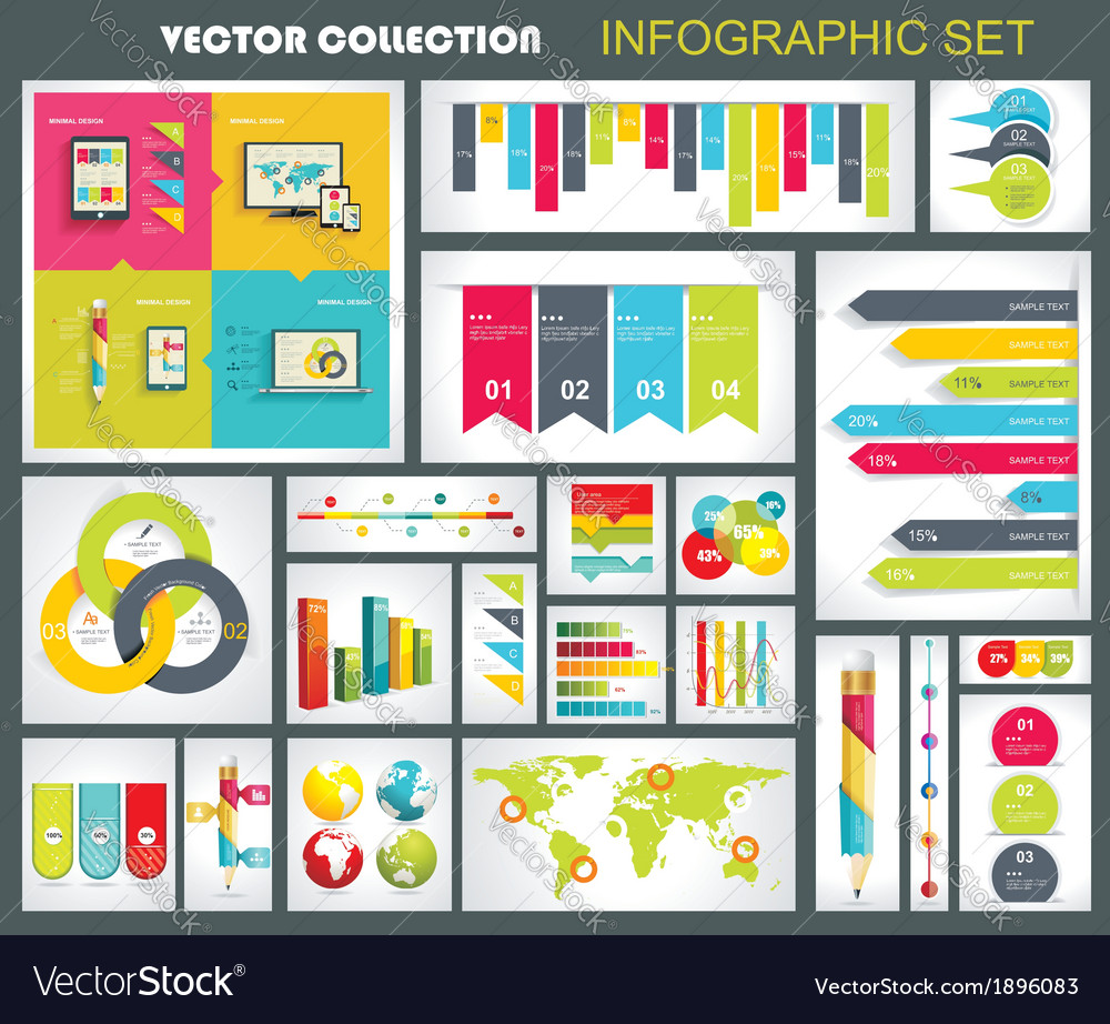 Collection of quality infographics design vector | Price: 1 Credit (USD $1)