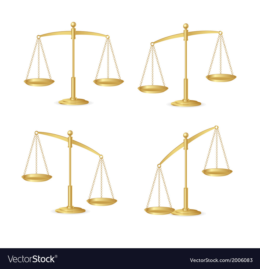 Gold justice scales set isolated on white vector | Price: 1 Credit (USD $1)