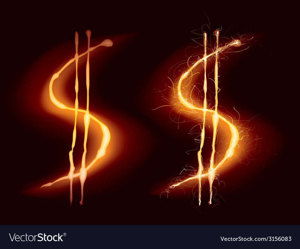 Hot dollar sign vector | Price: 1 Credit (USD $1)