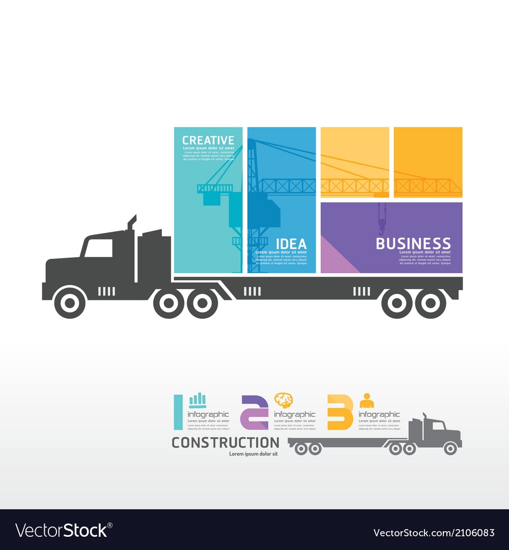 Infographic template with container truck banner vector | Price: 1 Credit (USD $1)