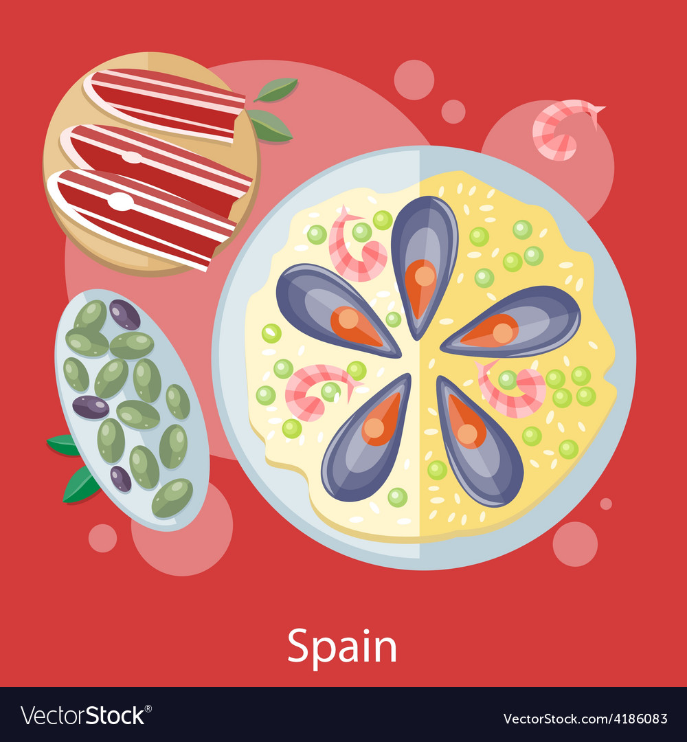 Paella traditional spanish meal vector | Price: 1 Credit (USD $1)