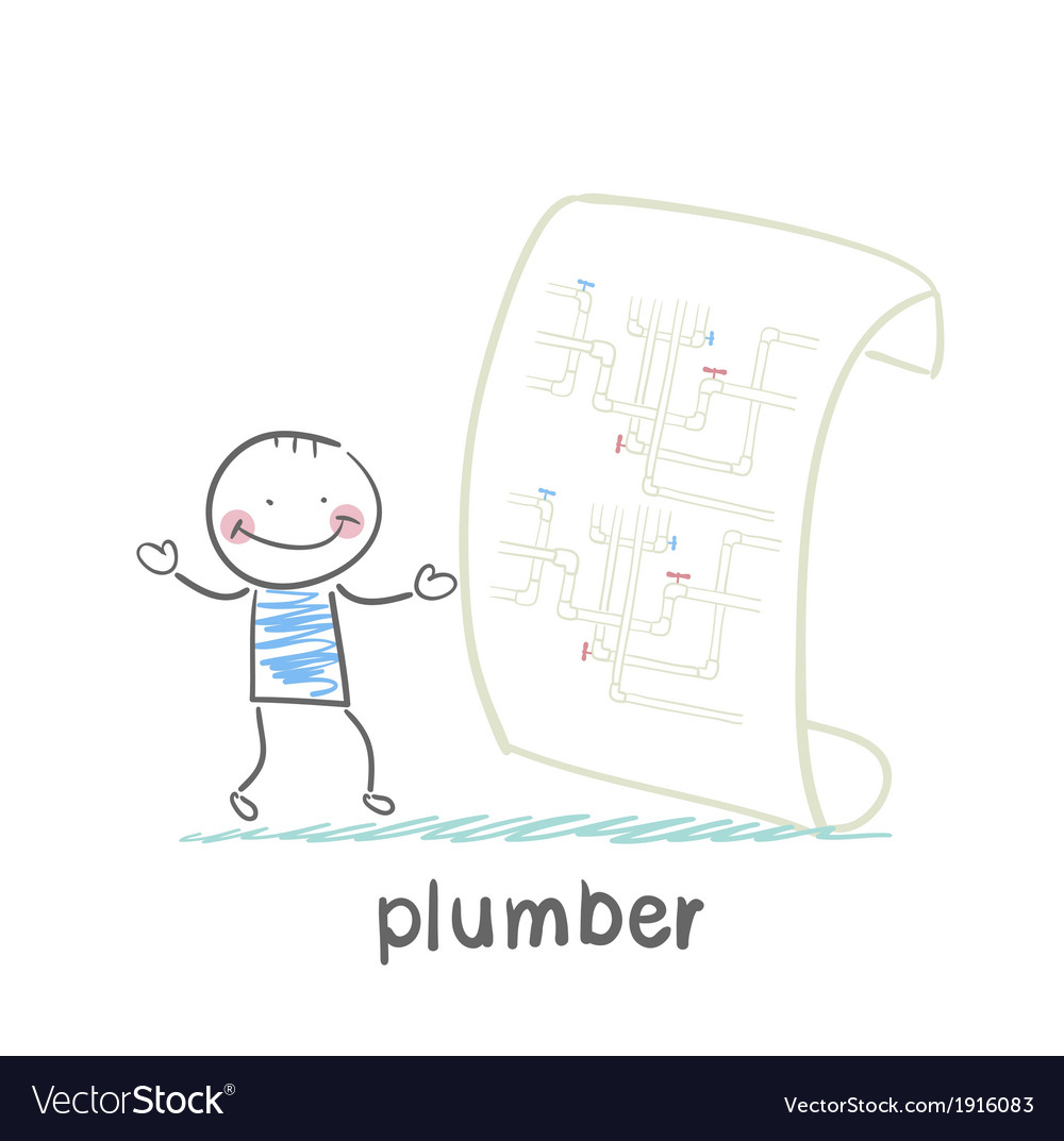 Plumber looking at circuit pipe vector | Price: 1 Credit (USD $1)