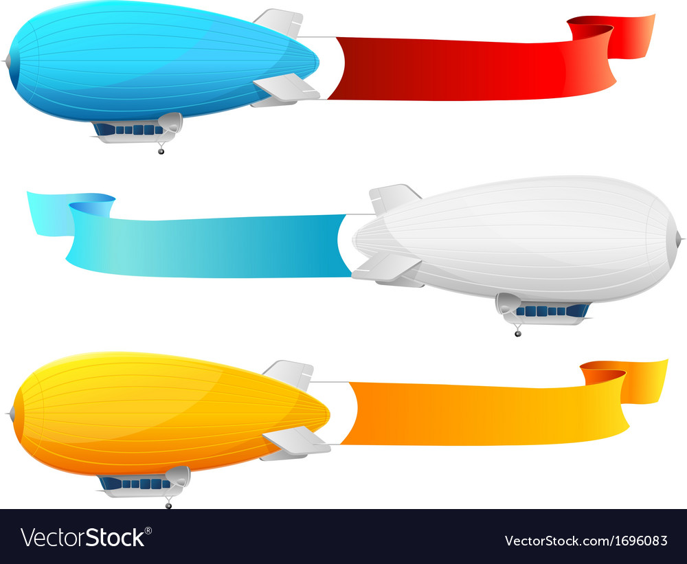 Retro dirigible and flags background vector | Price: 1 Credit (USD $1)