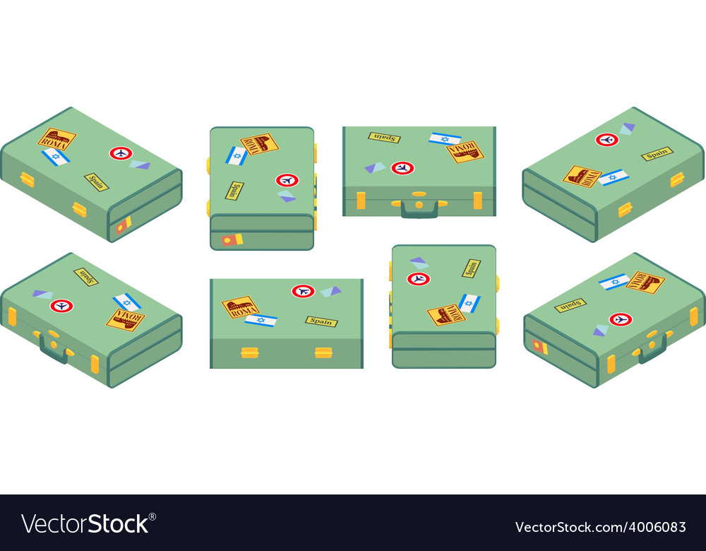 Set of lying green travelers suitcases vector | Price: 1 Credit (USD $1)