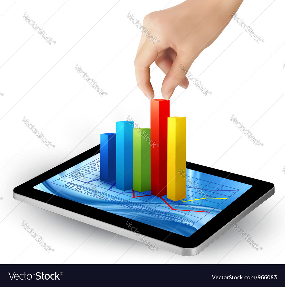 Tablet with colorful graph and hand vector | Price: 3 Credit (USD $3)
