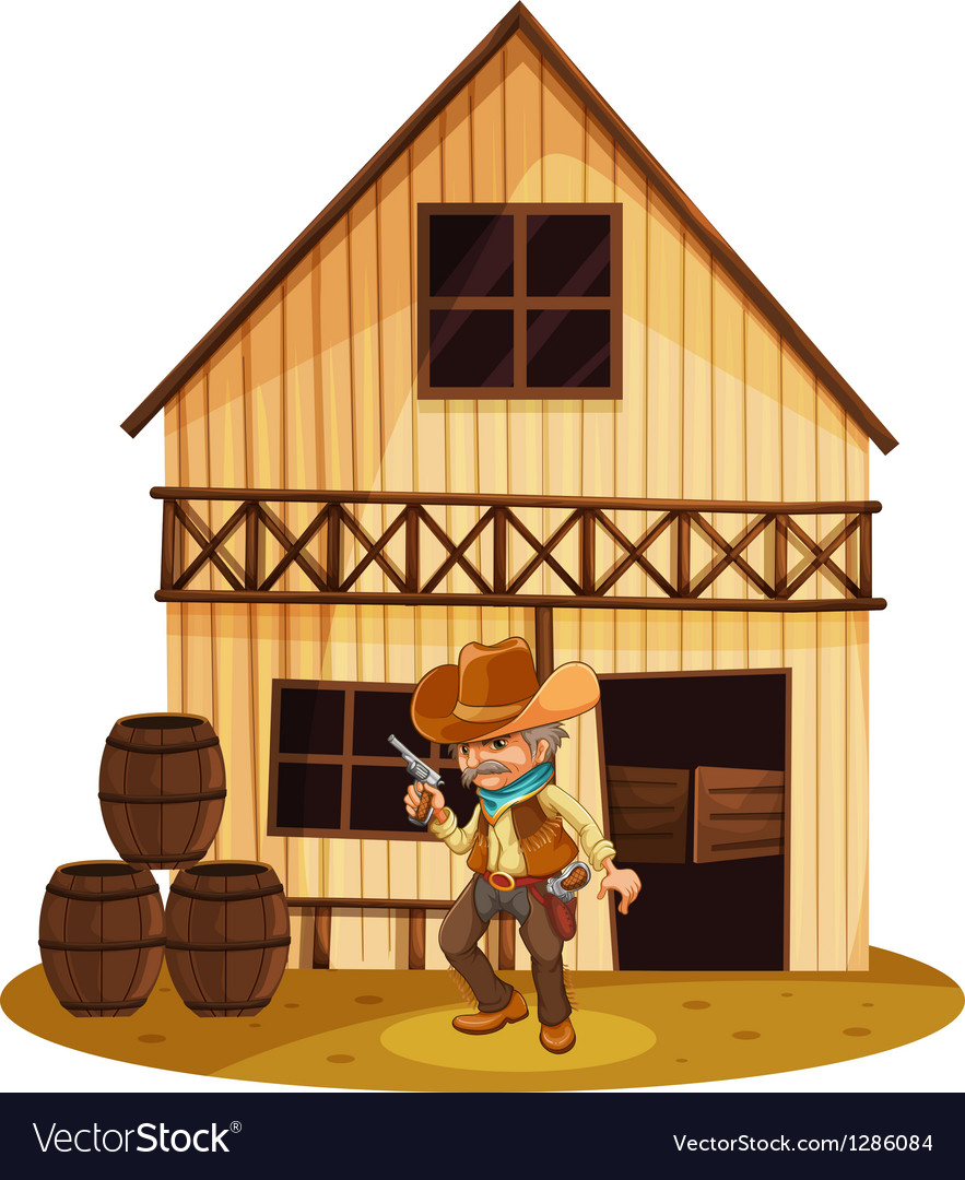 A man holding a gun in front of a wooden house vector | Price: 1 Credit (USD $1)
