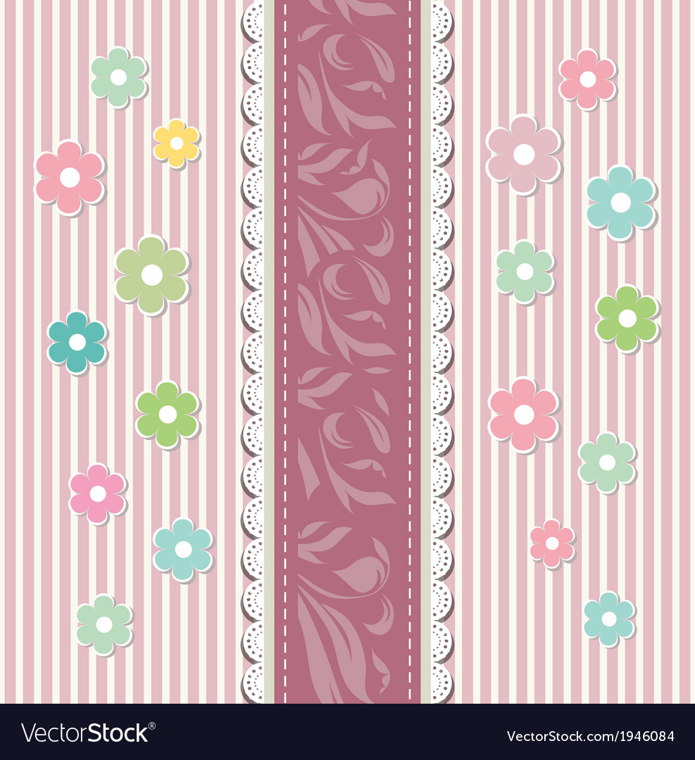 Beautiful baby floral greeting card vector | Price: 1 Credit (USD $1)