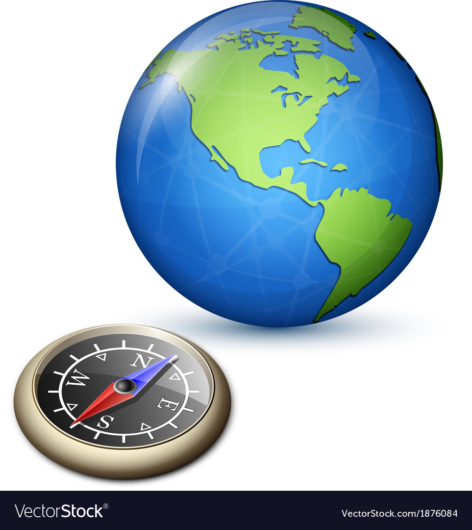 Brass compass and earth vector | Price: 1 Credit (USD $1)