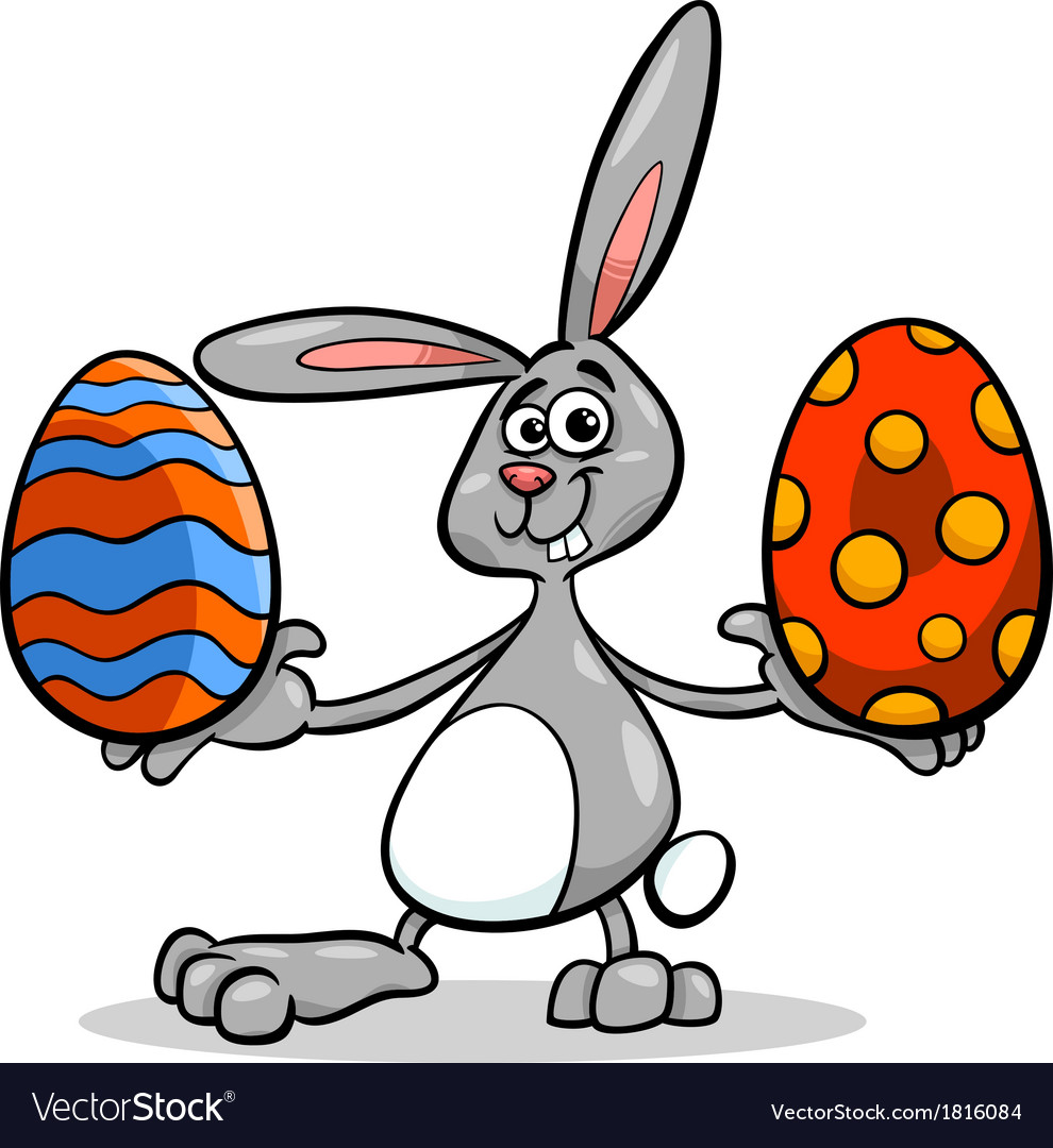 Bunny and easter egg cartoon vector | Price: 1 Credit (USD $1)
