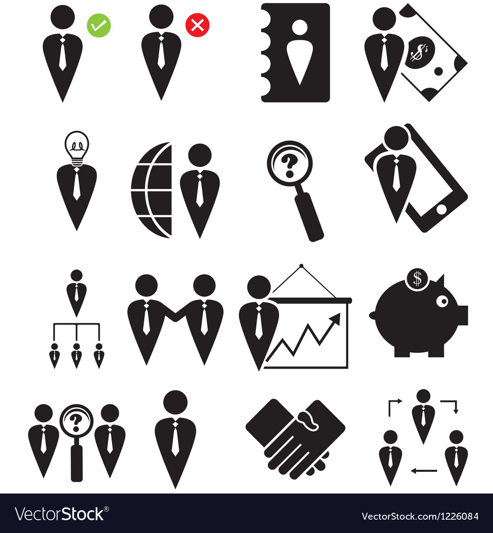 Business human icons set vector | Price: 1 Credit (USD $1)