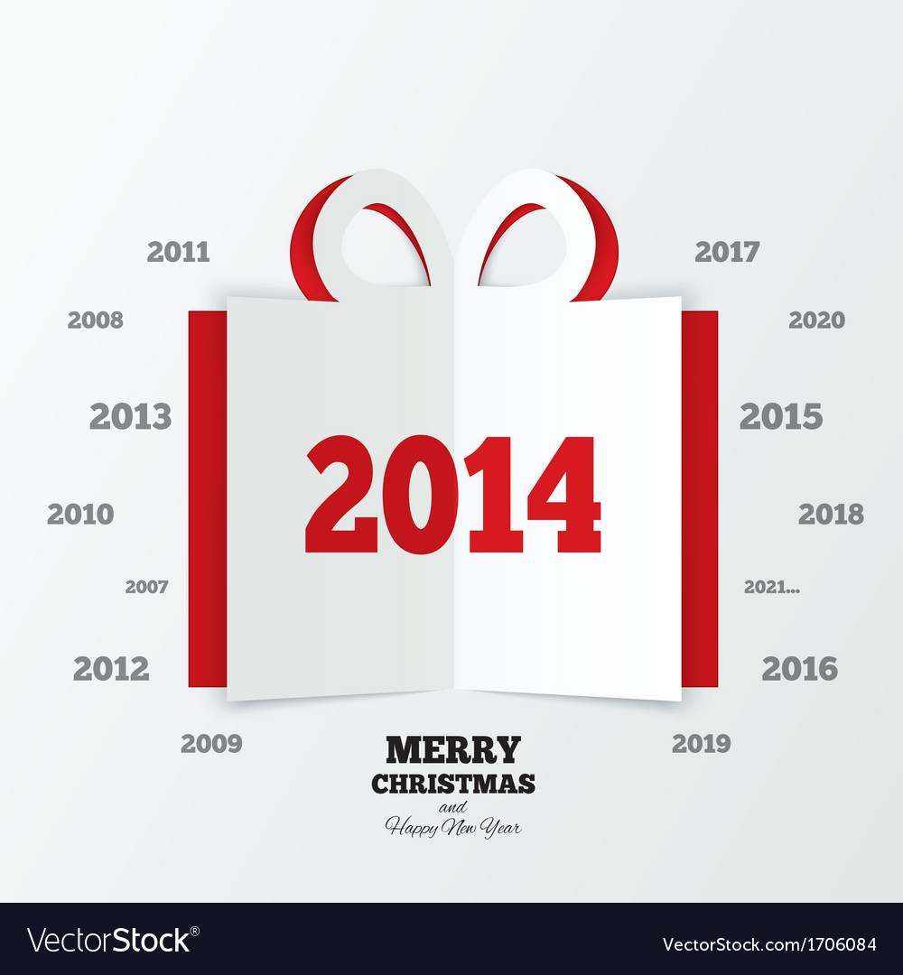 Christmas gift box cut the paper new year 2014 vector | Price: 1 Credit (USD $1)