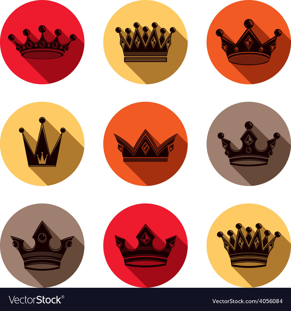 Colorful luxury crowns collection isolated 3d vector | Price: 1 Credit (USD $1)
