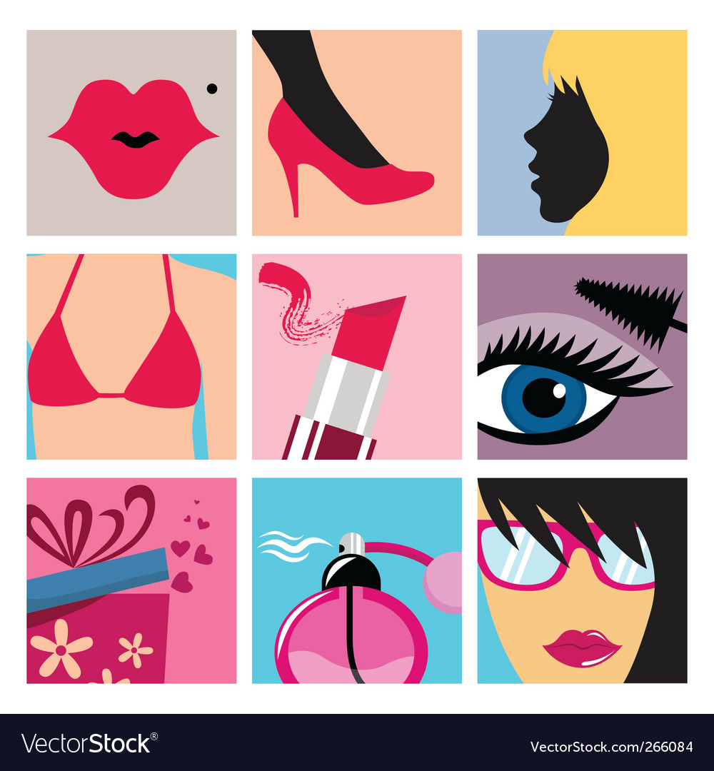 Cosmetic icon set vector | Price: 1 Credit (USD $1)