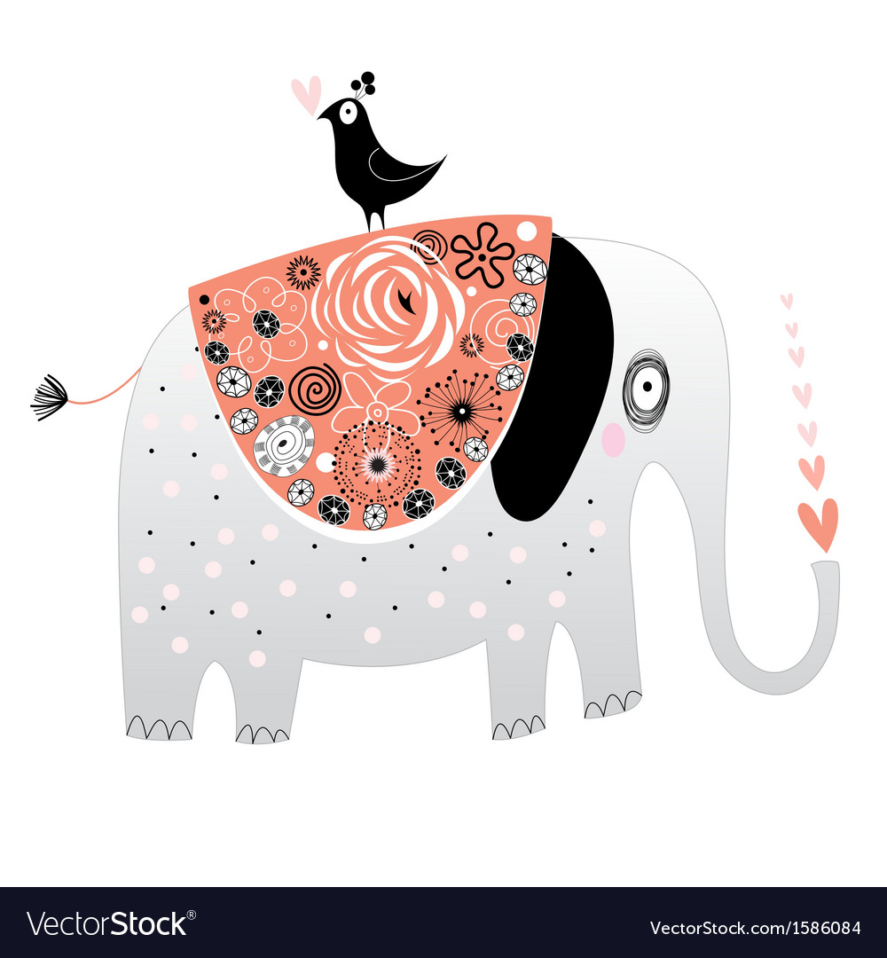 Elephant in love vector | Price: 1 Credit (USD $1)