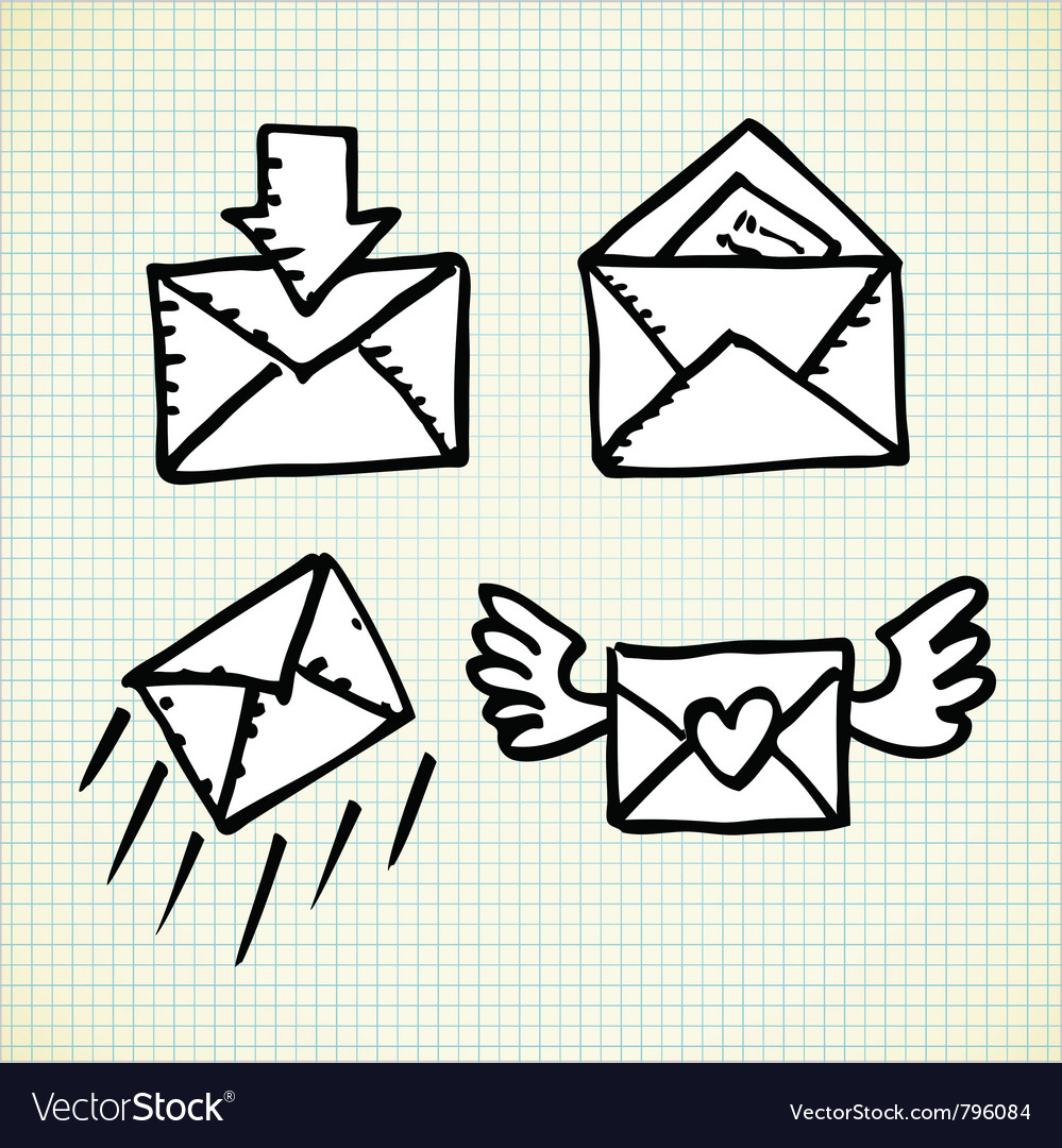 Email doodle icons vector | Price: 1 Credit (USD $1)
