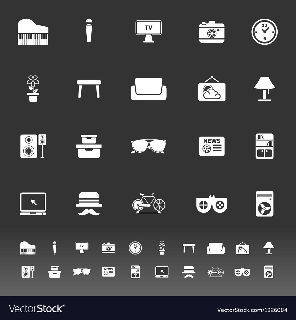 Living room icons on gray background vector | Price: 1 Credit (USD $1)