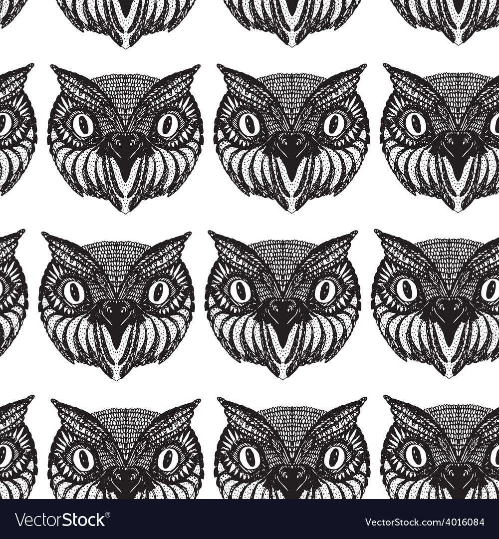 Owl head doodle hand drawn seamless patern black vector | Price: 1 Credit (USD $1)