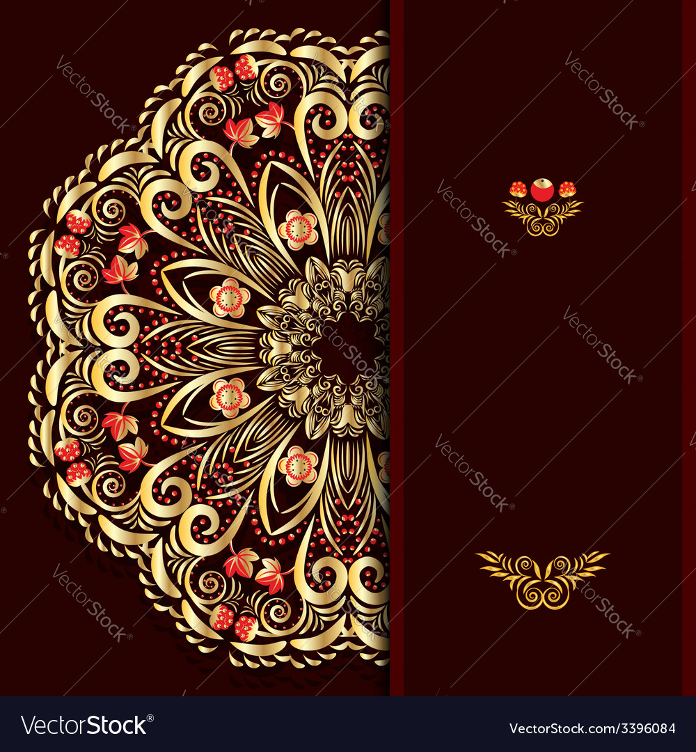 Rich burgundy background with a round gold floral vector | Price: 1 Credit (USD $1)