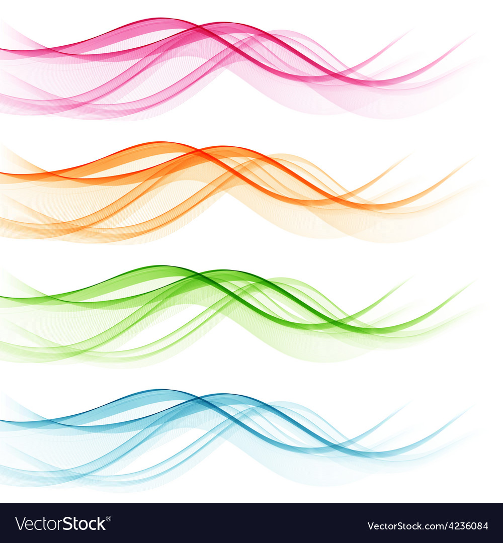 Set of abstract color wavy lines vector | Price: 1 Credit (USD $1)