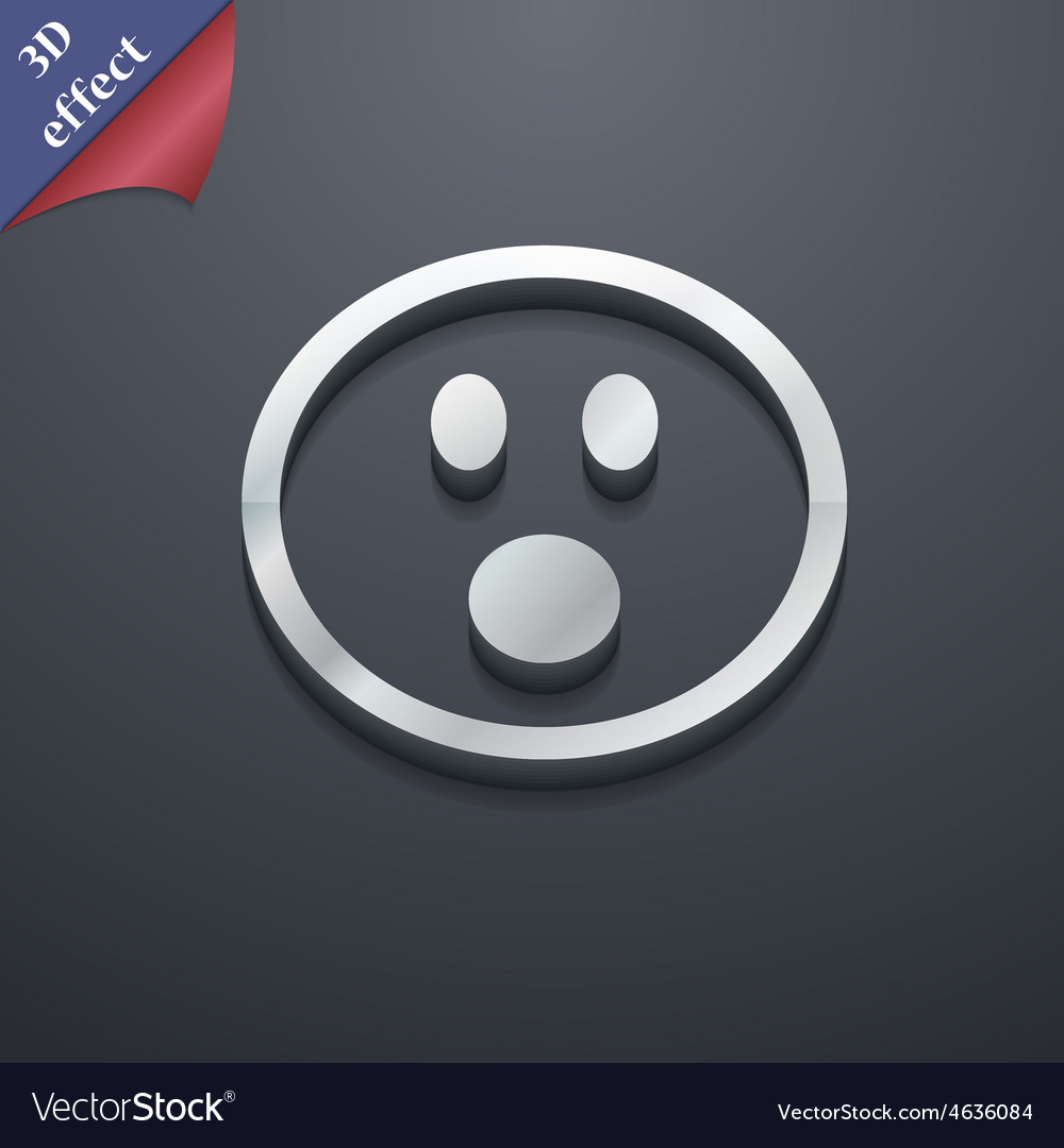 Shocked face smiley icon symbol 3d style trendy vector | Price: 1 Credit (USD $1)