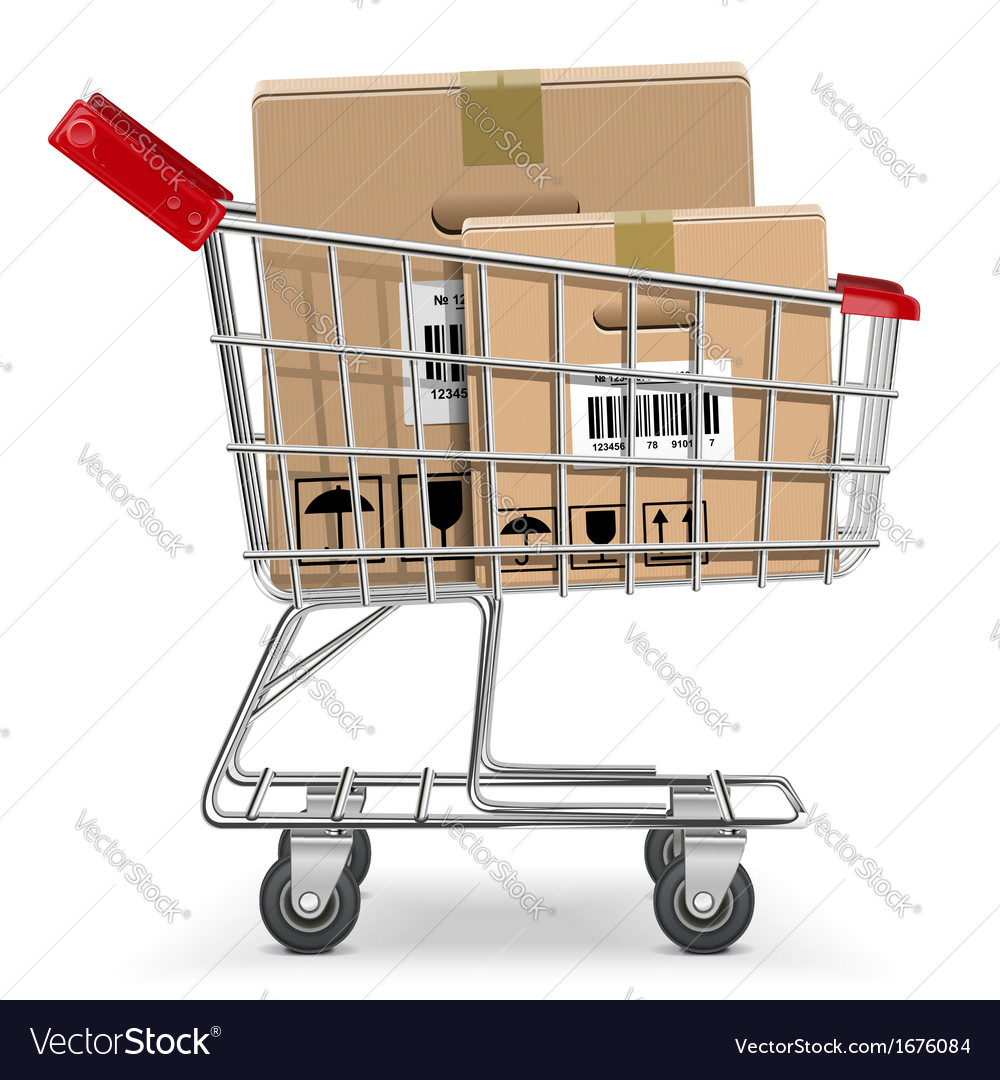 Supermarket cart with box vector | Price: 1 Credit (USD $1)