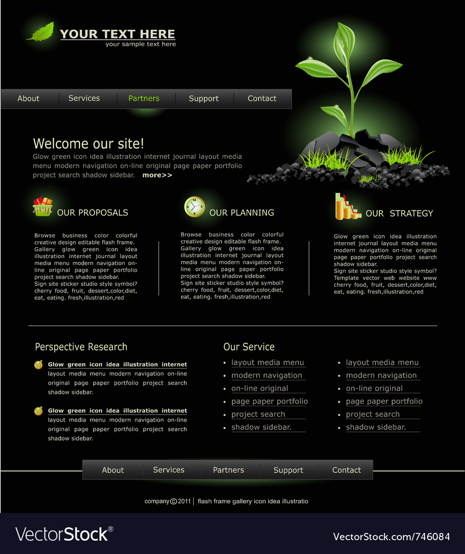 Web site for business black with green sprout vector | Price: 3 Credit (USD $3)
