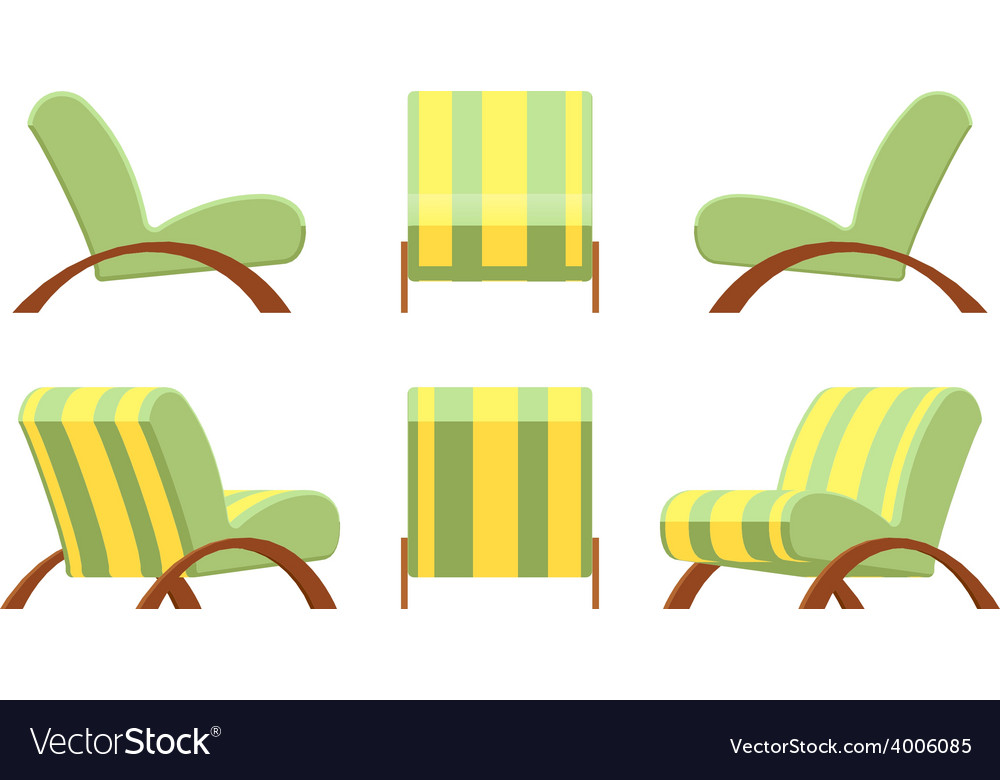 Armchair with wooden armsets and striped vector | Price: 1 Credit (USD $1)