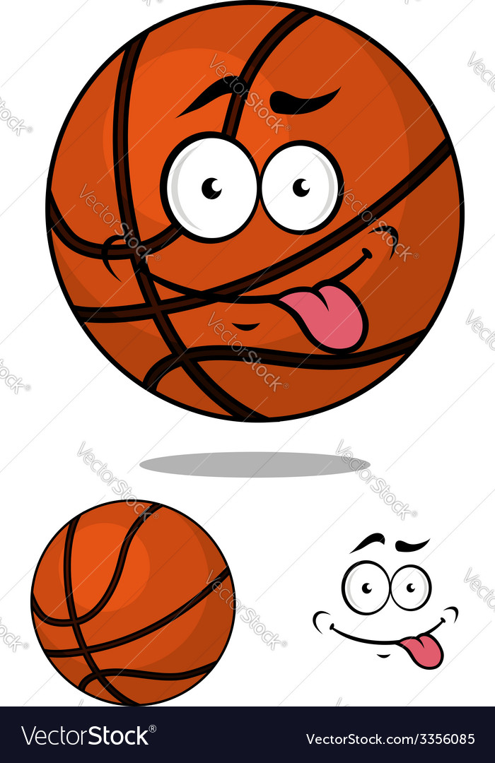 Cartoon basketball ball character with happy vector | Price: 1 Credit (USD $1)