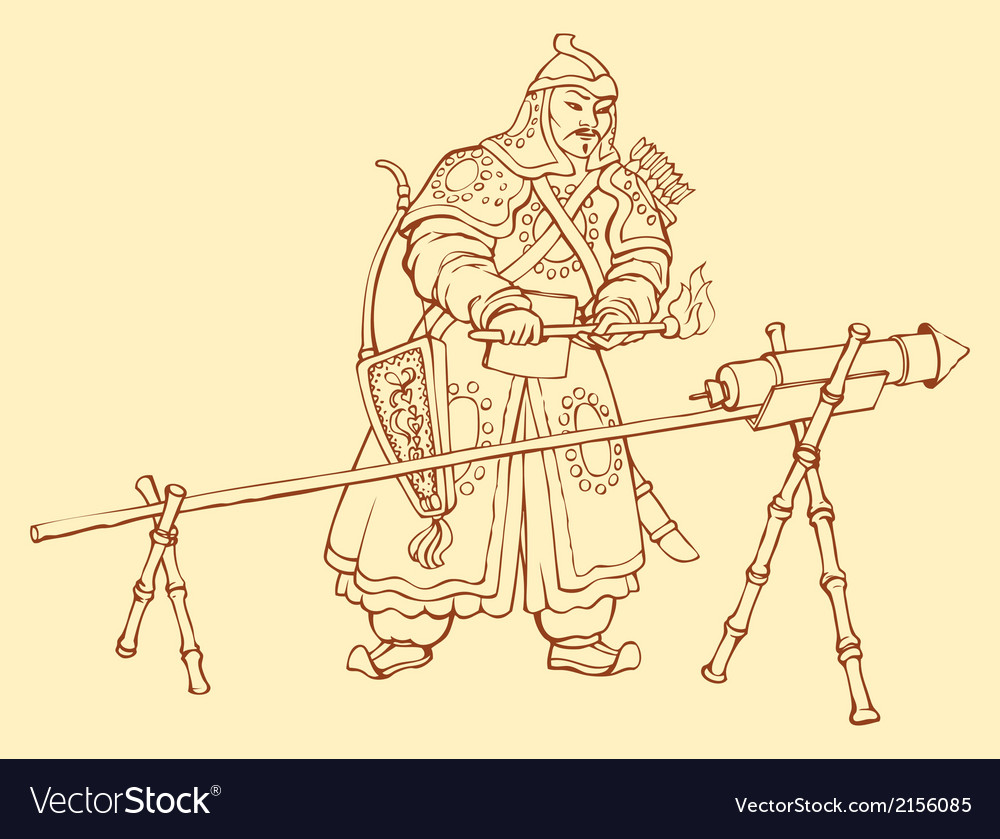 Chinese warrior igniting hand cann vector | Price: 1 Credit (USD $1)