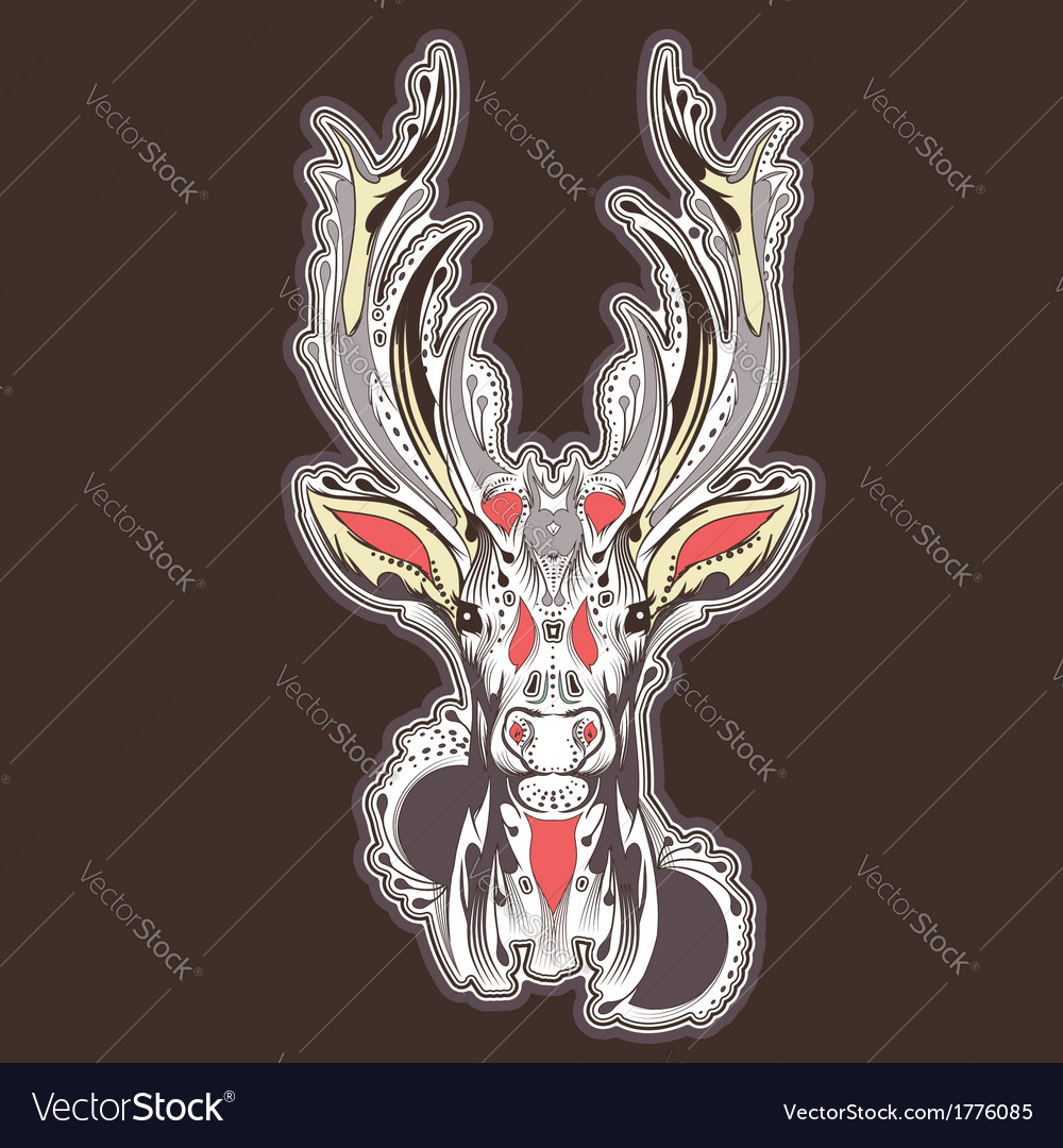 Deer head tattoo design vector | Price: 1 Credit (USD $1)