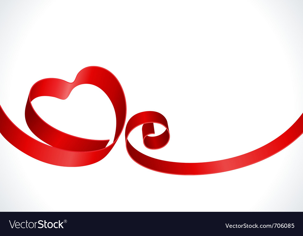 Red heart from ribbon vector | Price: 1 Credit (USD $1)