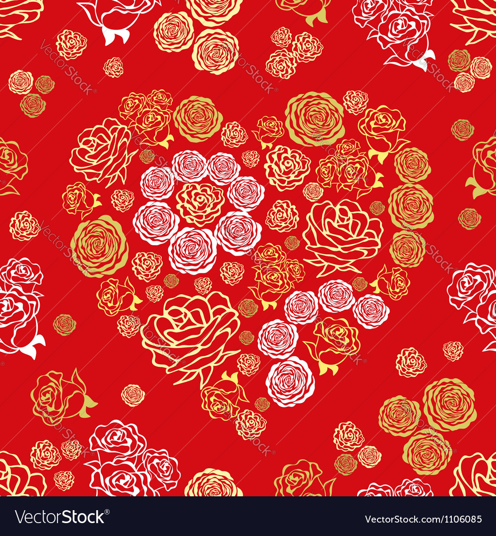 Red seamless pattern with flower hearts vector | Price: 1 Credit (USD $1)