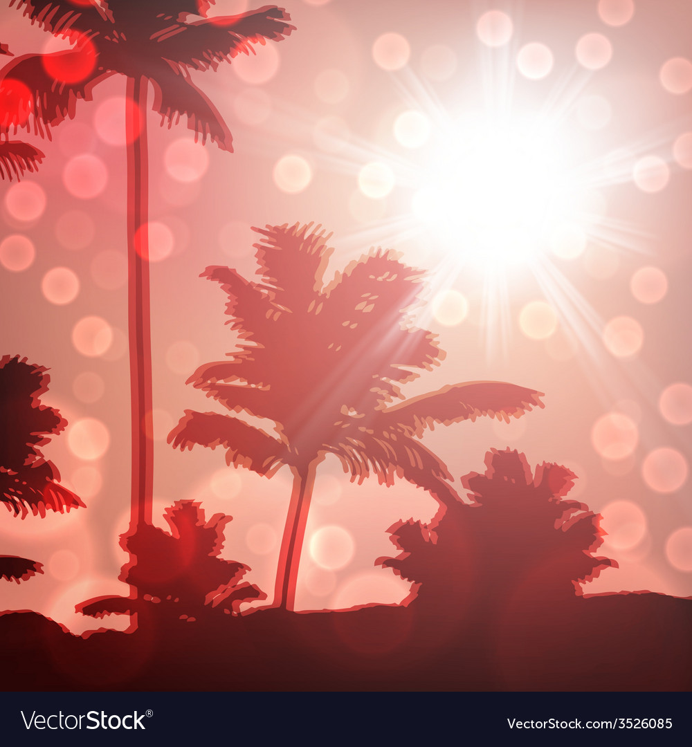 Sea sunset with island and palm trees vector | Price: 1 Credit (USD $1)