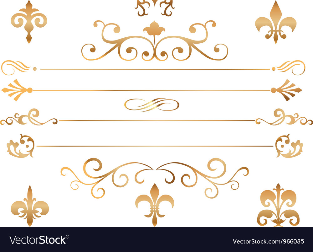Set of golden patterns and vignette vector | Price: 1 Credit (USD $1)