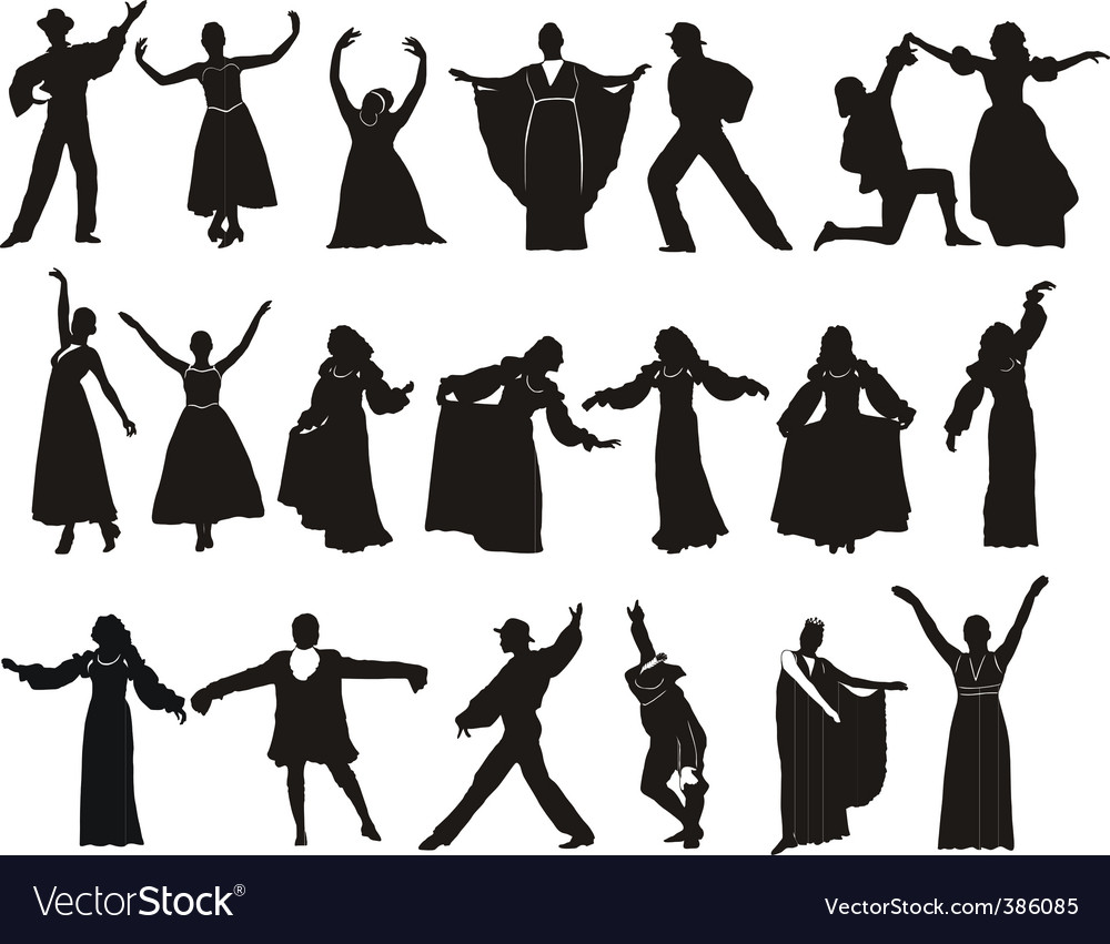 Silhouette medieval dancers vector | Price: 1 Credit (USD $1)