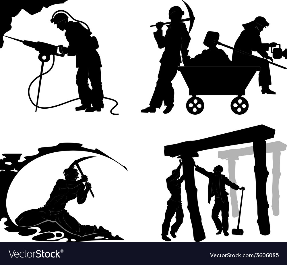 Silhouettes of of the miners vector | Price: 1 Credit (USD $1)